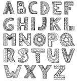 Vector ongebruikelijke de stijlbrieven van de alfabetkrabbel op een witte backgrou Stock Foto's