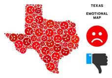 Vector Ongelukkig Texas Map Mosaic van Droevige Emojis stock illustratie