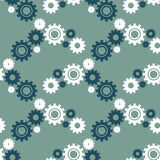 Vector ongoing pattern with green gears. Creative geometric background wheels. Vector ongoing pattern with green gears. Creative geometric background with Stock Photography
