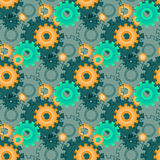 Vector ongoing pattern with green gears. Creative geometric background wheels. Vector ongoing pattern with green gears. Creative geometric background with Royalty Free Stock Images