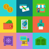 Vector online banking concepts set - pay and receive money using mobile devices and bank. Stock Photo
