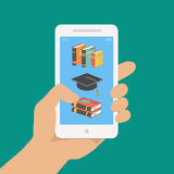 Vector online education concept in flat style Royalty Free Stock Images