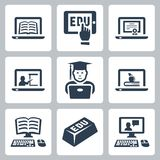 Vector online education icons set Stock Photo