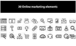 Vector online marketing geplaatste elementenpictogrammen vector illustratie