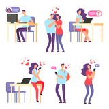 Vector online romantic dating. Man and woman, cute couple using mobile application for talking and love relationship. Woman and man dating, communication stock illustration