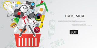 Vector online shopping concept Royalty Free Stock Photos