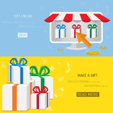 Vector online shopping gifts concept Royalty Free Stock Images