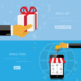 Vector online shopping gifts concept Royalty Free Stock Photo