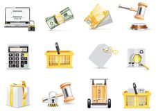 Vector online shopping icon set Stock Photography