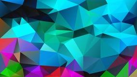 Vector onregelmatige veelhoekachtergrond - driehoeks laag polypatroon - volledig gekleurd spectrum - neon cyaan turkooise blauwgr stock illustratie