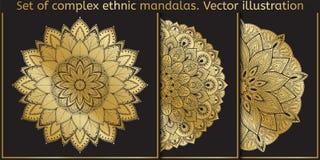 Vector ontwerpelement Malplaatje voor het creëren van embleem, pictogram, symbool, embleem, monogramkader Vector Indisch decorati Stock Foto's