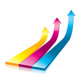 Vector Onwards & Upwards Arrows - 3D Glossy Icon Royalty Free Stock Photo