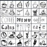 Vector op een koffiethema dat wordt geplaatst Royalty-vrije Stock Foto's