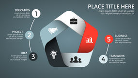 Vector op infographic pijlen, diagramgrafiek, de presentatie van de driehoeksgrafiek Bedrijfschronologieconcept met 5 opties Stock Afbeelding