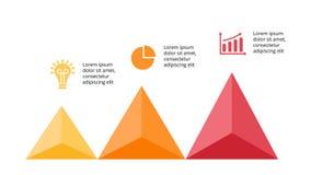 Vector op infographic pijlen, diagramgrafiek, de presentatie van de driehoeksgrafiek Bedrijfschronologieconcept met 3 opties Royalty-vrije Stock Afbeeldingen