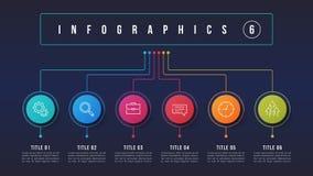 Vector 6 opciones diseño infographic, carta de estructura, presentati Imágenes de archivo libres de regalías