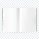 Vector open blank magazine spread. Book spread with blank white page. Spreadsheet isolated on transparent background Royalty Free Stock Images
