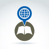 Vector open book with blank sheets placed in a circle, illustrat. Ion of a simple disclosed book and a speech bubble with a globe. Encyclopedia icon royalty free illustration