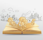 Vector open book with creative drawing elephant id Royalty Free Stock Photography