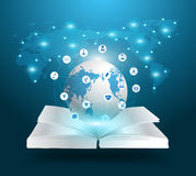 Vector open book and globe knowledge ideas concept Royalty Free Stock Images
