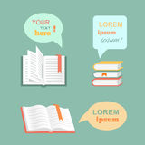 Vector open  book with speech bubbles clouds in Stock Photos