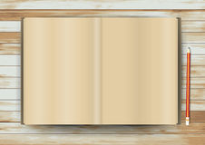 Vector open book on wood texture background Stock Image