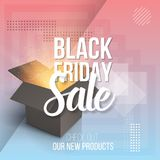 Vector Open Box. Realistic 3D Magic Box on Modern 90s Style Abstract Geometrical Background. Black Friday Sale Poster Template Royalty Free Stock Photos