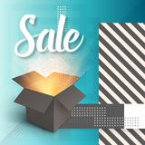Vector Open Box. Realistic 3D Magic Box on Modern 90s Style Abstract Geometrical Background. Sale Poster Template Stock Images