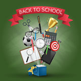 Vector open box with school supplies. Vector open box with a pen, calculator, pencils and other school supplies. Back to school illustration Stock Images
