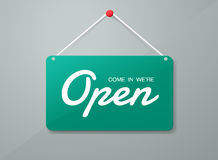 Vector open deurteken Etiket met tekst in vlakke stijl Vector stock illustratie