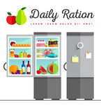 Vector open fridge full of healthy Stock Image