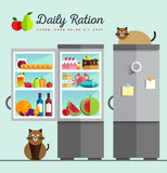 Vector open fridge full of healthy Royalty Free Stock Images