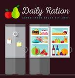 Vector open fridge full of healthy Royalty Free Stock Photo