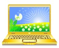 Vector Open gold notebook with field on the screen. Vector open notebook with dandelions blooming on the screen Stock Photos