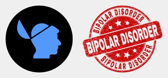 Vector Open Mind Icon and Grunge Bipolar Disorder Seal. Rounded open mind icon and Bipolar Disorder seal. Red rounded grunge watermark with Bipolar Disorder stock illustration