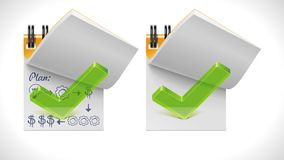 Vector open notepad with check mark XXL icon royalty free illustration