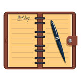 Vector Open Organizer with Pen and Text: Monday Royalty Free Stock Photo