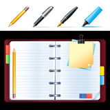 Vector open personal organizer. With pen Royalty Free Stock Image