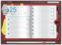 Vector open personal organizer template. Detailed personal organizer template with calendar and watch - can be used for application or website Royalty Free Stock Image