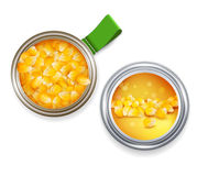 Vector open tin can with grains of maize and cans with the label Royalty Free Stock Photography