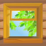 Vector Open wooden window farmhouse. Open wooden window  farmhouse on a summer day Royalty Free Stock Image