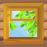Vector Open wooden window farmhouse Royalty Free Stock Image