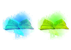 VECTOR opened books on abstract blue and green spots. Illustrations isolated on white Royalty Free Stock Photos