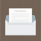 Vector opened paper envelop with letter on wood table Royalty Free Stock Photo