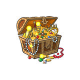 Vector opened treasure chest full of golden coins. Vector opened wooden treasure chest full of golden coins, gems jewelry. Isolated illustration on a white Royalty Free Stock Photography