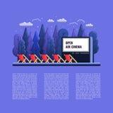 Vector Openluchtbioskoop vlakke Illustratie met stoelen en Nacht openlucht vector illustratie