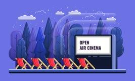 Vector Openluchtbioskoop vlakke Illustratie met stoelen en Nacht openlucht stock illustratie