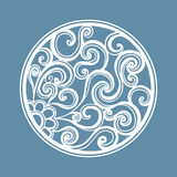Vector openwork white round frame with spiral. Laser cut. Ting template for greeting cards, envelopes, wedding invitations, decorative elements Royalty Free Stock Images