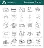 Vector a operação bancária, o comércio eletrônico, a finança e o negócio lineares Imagens de Stock