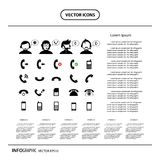 Operator customer support and basic phone info graphic icon Royalty Free Stock Photos